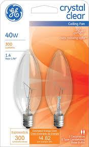 ge lighting 81561 40 watt 280 lumen decorative b13 incandescent light bulb crystal clear 2 pack b light bulb com