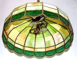 vintage stained glass hanging light lamp antique fixture lighting rew