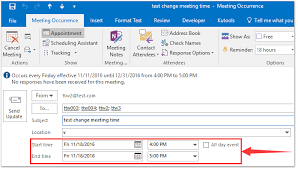 how to change recurring meeting time in