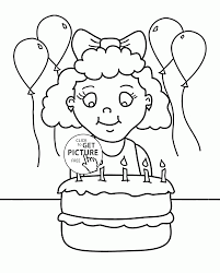 Girl And Birthday Cake Coloring Page
