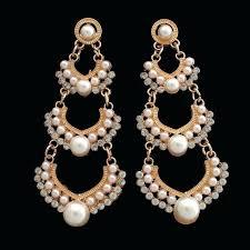 diamond and pearl chandelier earrings trendy pearl rhinestones geometric pendant dangle chandelier earrings diamond and pearl