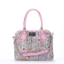 Latest Coach Poppy Signature Medium Pink Grey Satchels Exb Sale tQn46