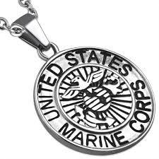 stainless steel 2 tone united states marine corps military medallion medal biker pendant
