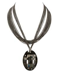 large stone pendant necklace black diamond hematite hi res
