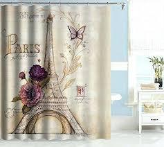 paris shower curtain vintage themed light brown tower bathroom purple flower custom polyester fabric bath decorative x target