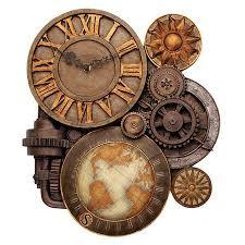 Clocks Industrial <b>Vintage</b> Sculptural Art Stone Style Wall Clock ...