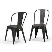 fletcher distressed black and copper metal dining side chair set of 2