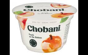 nutrition chobani peach on the bottom non fat greek yogurt