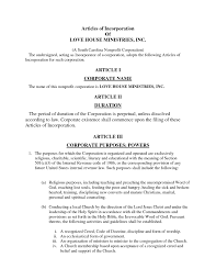 Microsoft Articles Of Incorporation California Church Articles Of Incorporation Sample Templates 1