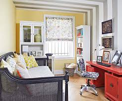 office guest room. Office Guest Room Decorating Ideas And Red Computer Desk Also Yellow Wall Accent Striped W