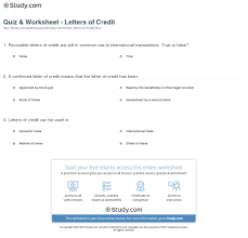 Quiz Worksheet Letters Of Credit Study Com