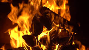 the fire burns in the fireplace 4k stock clip