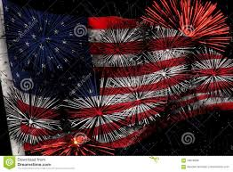 Usa Flag With Fireworks Stock Image Image Of Foreground