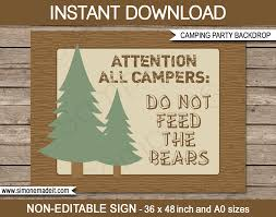 camping party sign backdrop do not feed the bears printable diy template party