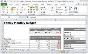 Budget Layout Example Household Budget Template Monthly Family Home Sheet Free Download