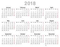 2018 年の年間カレンダーのベクトル イラストの色 月曜日最初英語