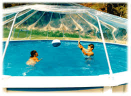 ROUND HARD SIDED SWIMMING POOL COVER FABRICO SUNDOMES CLEAR VINYL