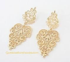 vintage statement textured chandelier earrings gold