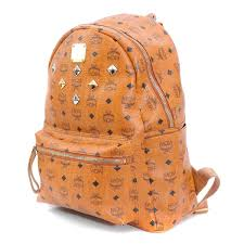pvc leather backpack brown with mcm m cm brand logo monogram studs