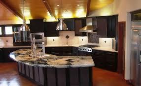 kitchen modern granite. Modern Kitchen Counter Design Black Color Metal Handles Built In Stoves Dark Brown Wooden Island Granite