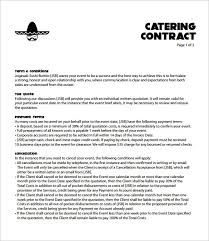 Catering Agreement Catering Contract Template Free Templates Contract