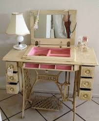 Redesign old furniture use the old sewing machine as vintage