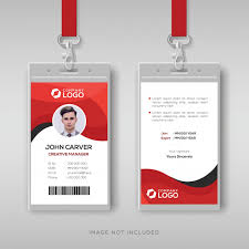 Identification Card Samples Professional Identity Card Template With Red Details Vector