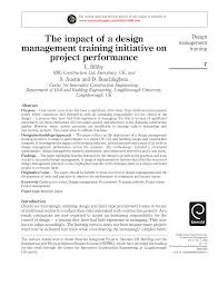 Loughborough University Architectural Engineering And Design Management The Impact Of A Design Management Training Initiative On