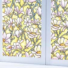 fofon no glue stained glass window privacy static vinyl cling opaque window s perfect for bathroom shower room home decoration 17 71 by 78 74