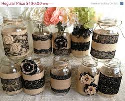 Decorative Mason Jars For Sale 60 DAY SALE 60x Rustic Burlap And Black Lace Covered Mason Jar 1