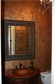 old fashioned copper bathroom walls using sparkling chandelier for victorian interior