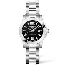 chisholm hunter longines conquest black dial bracelet watch