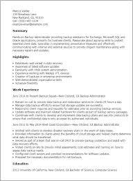 Exchange Administrator Resumes Backup Administrator Resume Template Best Design Tips