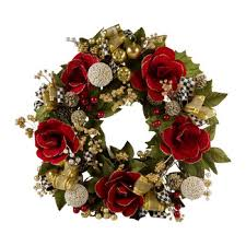 garnet magnolia wreath large