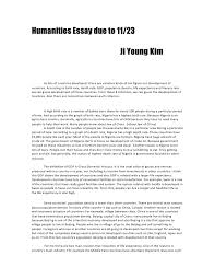 humanities essay due to  humanities essay due to 11 23 <br > ji young kim <br