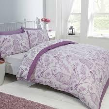 mauve purple colour birdgage fl design bedding duvet