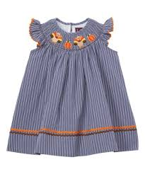 Lil Cactus Stone Blue Stripe Turkey Smocked Angel Sleeve