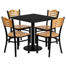 restaurant table chairs 30 square black laminate with 4 wood slat back metal 31111331509 ebay