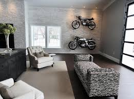 man cave with garage style doors