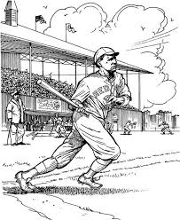 Red Sox Batter Baseball Coloring Page Purple Kitty Coloring