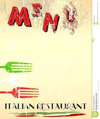 Blank Menu Template Italian Menus Templates Restaurant Free