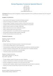 Sample Regulatory Compliance Specialist Resume Resame Pinterest