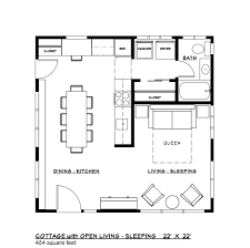 Square Kitchen Floor Plans Modern Style House Plan 1 Beds 100 Baths 484 Sq Ft Plan 917 37