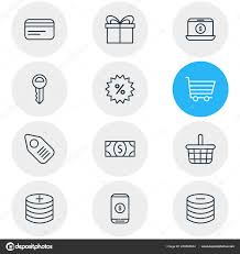 Illustration Of 12 Trading Icons Line Style Editable Set Of Profit