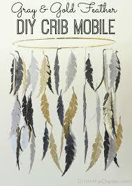 gray gold feather diy crib mobile