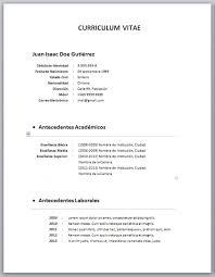 Modelo De Curriculum Vitae 2018 Chile Modelo De Curriculum Vitae