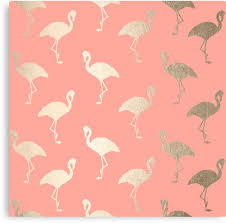 Flamingo Pattern Unique Golden Flamingo Pattern On Pink Blush Canvas Prints By SimpleLuxe