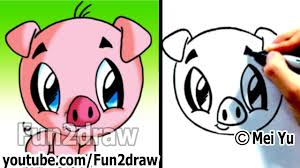 how to draw a cartoon pig under 2 min cute drawings fun2draw art lessons for kids