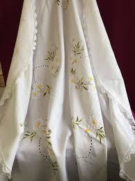 beautiful hand embroidered white cotton round tablecloth diameter 148 cm