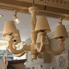 image of beautiful wooden chandelier